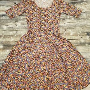 Lularoe Nicole Dress Small Multicolor Geometric